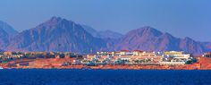 Coast of Sharm el Sheikh in front of the Mountains of the Sinai Peninsula in Egypt