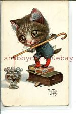 ARTHUR THIELE Large Head CAT Fishing in Goldfish Bowl 1920s POSTCARD