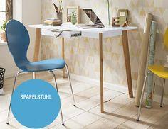 Retro never dies - Stapelstuhl: himmelblaue Holz-Sitzschale / verchromte Metallbeine - Produktnummer: 444306-020-07-200