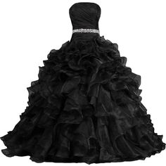 ANTS Women's Pretty Ball Gown Quinceanera Dress Ruffle Prom Dresses ($100) ❤ liked on Polyvore featuring dresses, gowns, abiti, long dress, prom ball gowns, prom evening gowns, ruffle dress, flutter dress and quinceanera gowns
