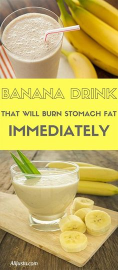 Banana Drink That Will Burn Stomach Fat Immediately - Health and Fitness - Bananen Fat Burning Smoothies, Fat Burning Detox Drinks, Fat Burner Smoothie, Fat Burner Drinks, Freelee The Banana Girl, Burn Stomach Fat, Stomach Detox, Stomach Fat Burning Foods, Burn Belly Fat Drinks