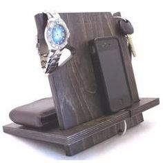 Palmetto Wood Shop offers gray wooden docking stations for sale online, compatible with all cell phones. It holds your phone, wallet, watch and keys.