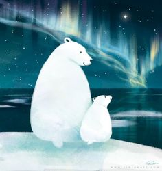 I love this illustration of Polar Bear and baby by Rinian of DeviantArt