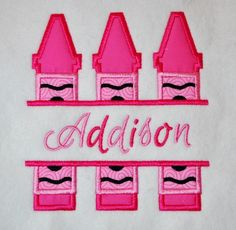 Split Trio of Crayons Applique, from Five Star Fonts