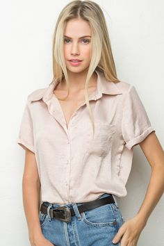 Brandy ♥ Melville | Peyton Silky Shirt - blouses & button ups - Tops - Clothing
