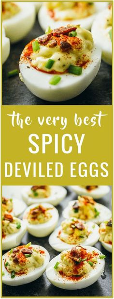 Spicy deviled eggs recipe   Party food   Easter food   Appetizer food   Easy recipe   Stuffed eggs   Angel eggs   Dressed eggs   Salad eggs   best deviled eggs via /savory_tooth/