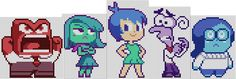 pixelized inside out characters for perler beads, knitting, crocheting, or cross stitching! :D