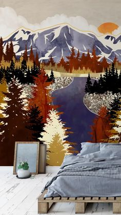 Do you love the outdoors? Are the mountains your happy place? Then look no further as you can easily bring the mountains into your home with a wall mural from Wallsauce.com! Think autumn foliage, vast mountains and beautiful sunsets, towering over your bed as you sleep. Waking up to a mountain view is now possible every day in your own home! Shop your favourite look at Wallsauce.com! #bringtheoutdoorsin #indooroutdoor #bedroomdecor Bedroom Wallpaper, Wall Wallpaper, Gold Color Scheme, Color Schemes, Off White Paints, Mountain Wallpaper, Fall River, Landscape Walls, Beautiful Bedrooms