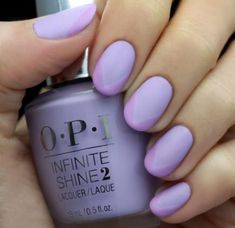 LuLu's created this simple, pastel manicure using two complementary shades of purple and a matte topcoat. #NailArt #PromNails