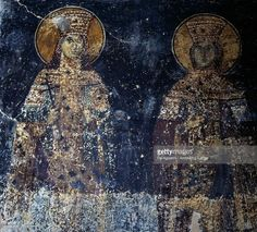 Stock Photo : Saints, fresco in Byzantine church of Sotiras Christos, Veria, Central Macedonia, Greece, 14th century