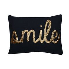 Thro Home Smile Sequin Script Faux Linen Pillow - Peacoat Navy/Gold Gold Accent Pillows, Navy Blue Throw Pillows, Gold Pillows, Cute Pillows, Linen Pillows, Cushions, Decor Pillows, Decorative Pillows, Gold Teen Bedroom