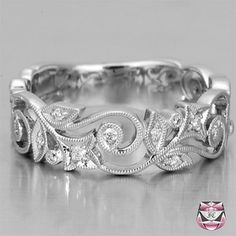 Diamond Wedding Band Nouveau Style