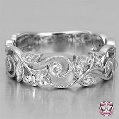 Diamond Wedding Band Nouveau Style