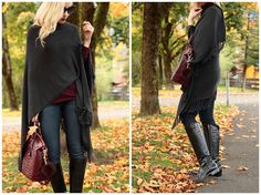 dark denim with riding boots outfit, Frye Melissa tab tall black riding boots, Karen Kane gray fringe cape, how to wear a ruana, Brahmin black cherry burgundy handbag, fall in Garmisch Germany
