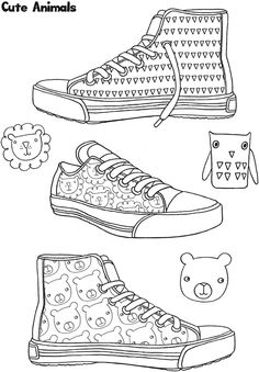 212 best Shoes Coloring Pages for Adults images on Pinterest in 2018 ...