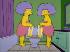 Patty & Selma shaving the Simpsons   ...our future :)