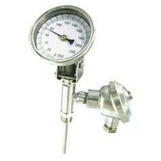 Bimetal Thermom, 5 In Dial, 0 to 250F by Dwyer Instruments. $1010.42. With Process Output. Dial Thermometer With Process Output, Bimetal, Dial Size 5 In., Connection Size 1/2 In. NPT, Connection Location Adjustable, Stem Length 2-1/2 In., Temp. Range (F) 0 Degrees to 250 Degrees Accuracy +/-1 Percent, Stem Dia. 1/4 In.Vertical Adjustment Range 0 Degrees to 90 Degrees , Case Hermetically Sealed, Case Material Stainless Steel, Stem Material Stainless Steel, Window Materia...