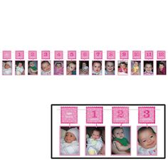 Celebrate your little girl's happy birthday with this photo garland. Displaying a picture for each month of life is easy, just clip 13 photos holders with 1 Baby Girl 1st Birthday, First Birthday Parties, Birthday Party Themes, Birthday Ideas, Glitter Photo, Glitter Girl, Pumpkin Patch Birthday, Photo Garland, Glitter Birthday