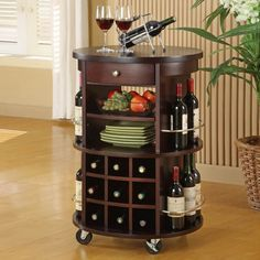 Awesome Floor Standing Wine Racks Decorating Interior Ideas: Charming Brown Wooden Floor Standing Wine Racks With Drawer And Wheels Table Ideas ~ systink.com Decoration Inspiration
