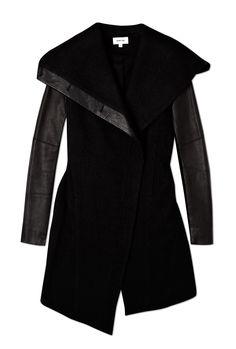 Black Leather Sleeve Wollowed Felt Jacket-Helmut Lang