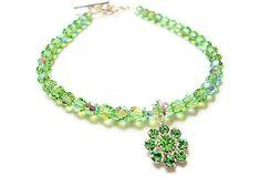 Peridot bracelet with  swarovski crystal by PoconoPrincessJewels, $35.00