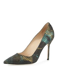 Manolo Blahnik, Iridescent Watersnake blue/green stiletto pump