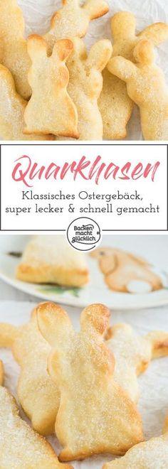 Leckerer Osterklassiker: Hasen aus Quark-Öl-Teig. Die kleinen Quarkhasen sehen nicht nur süß aus, sie schmecken auch super lecker und sind schnell gemacht.