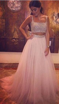 Two Pieces Beading Prom Dress,Long Prom Dresses,Charming Prom Dresses,Evening Dress, Prom Gowns, Formal Women Dress,prom dress