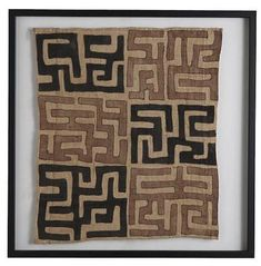 Framed Kuba Cloth Fabric can be done in square to extra long lengths... MIXfurniture.com