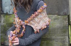 Inner Wild Fritillary Wrap  Hand knitted in Araucania Merino with pure Merino wool scarf yarn as edging