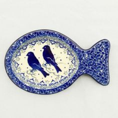 The tail of these fish tray designs come in handy to grasp when cleaning. I can see multiple uses for them. Polish Ceramic Spoon Rest with Birds – Gifts by Kasia
