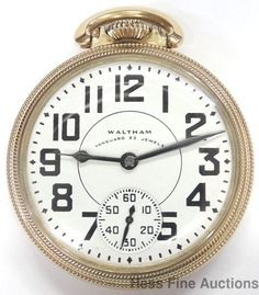 Minty Vintage 23j Waltham Vanguard 16s Railroad Open Face Pocket Watch Running #Waltham - watches, vintage, skagen, black, michael kors, olivia burton watch *ad