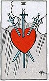 Three of swords  The symbolism on the Three of Swords is scant but powerful, almost universal in its depiction on various decks. Three swords are seen piercing a heart, or occasionnally a flower, both of which are symbols of emotion and beauty. Thus the Three of Swords depicts, rather unambiguously, the ability of logic and power to harm the physical body and the emotions of a person. It is not surprising that many people don't like this card because of its associations with pain and…