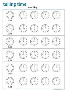Clock Worksheets, First Grade Worksheets, Worksheets For Kids, Kindergarten Worksheets, Preschool Kindergarten, Word Family Activities, Pattern Worksheet, Home Learning, Telling Time