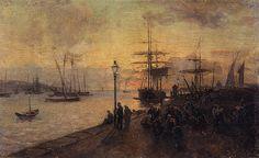 """Alfredo Keil (1850 - 1907), """"O Aterro em 1881; No cais do Tejo"""" 1881"""