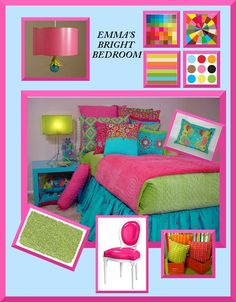 What Colors Go With Hot Pink turquoise and hot pink girls kids bedroom with wood floors and