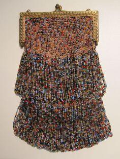 1920s French-made Art Deco multicolor carnival glass handbag.