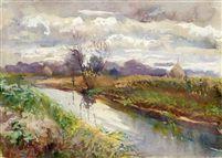 Flusslandschaft (Landschaftsstudie, verso) von Philipp Franck
