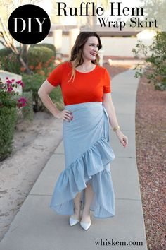 Ruffle Skirt DIY - hop on the ruffle trend with this easy sewing project that will take just a couple hours.  Free tutorial and step by step instructions!
