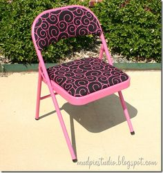 Transforming an old card table chair to a sassy desk chair in your choice of color/fabric - Kristian