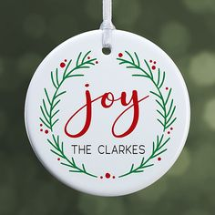 Add a hint of tradition to your Christmas tree this year with the Joy Wreath Personalized Ornament. Custom printed with any name under the word JOY, the classic wreath design makes a classic addition to your Christmas tree. Personalized Christmas Ornaments, Xmas Ornaments, Christmas Tree Decorations, Christmas Holidays, Christmas Bulbs, Christmas Gifts, Hand Painted Ornaments, Vinyl Projects, Diy And Crafts