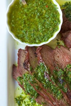 Grilled Tri-Tip with Chimichurri Sauce - a fabulous tasting, very tender cut of beef that's perfect for grilling. I love that it's decently priced compared to other steaks. The fresh herb sauce is an amazing complement to the delicious beef.