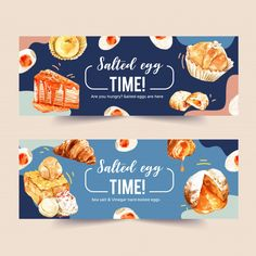 Salted egg banner design with croissant,... | Free Vector #Freepik #freevector #banner #watercolor #design #hand