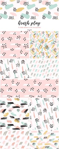 Brush Play Abstract Patterns by Elan Creative Co. on @creativemarket