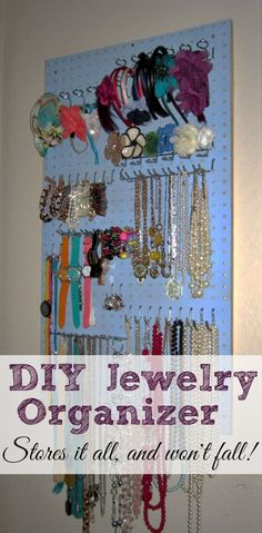 DIY Jewelry Organizer- get your jewelry organized, easily accessible, and beautifully displayed! @ShapingUpMegan http://www.shapinguptobeamom.com/diy-jewelry-organizer