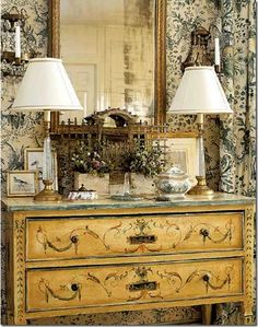 cabinet dresser console french provencal eclectic room home decor ideas wallpaper lamps