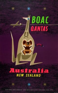 BOAC Qantas Australia New Zealand, 1957 - original vintage poster by Laban listed on AntikBar.co.uk