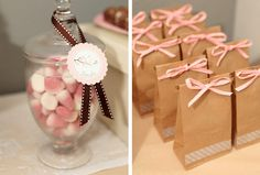 baby shower but also cute ideas for bridal showers love the added tape for a nice detail Baby Shower Vintage, Vintage Party, Bunny Party, Candy Bags, Goodie Bags, Gift Bags, Pretty Packaging, Bag Packaging, Ideas Para Fiestas
