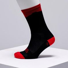Ridge Supply cycling socks available in the UK on OMNIUM - black and red cycling socks