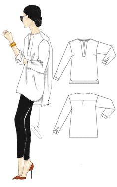 Adley shirt sewing pattern from Alice & Ann - The Pattern Pages Sewing Magazine Tunic Dress Patterns, Dress Making Patterns, Dress Shirts For Women, Blouses For Women, Pdf Sewing Patterns, Clothing Patterns, Sewing Magazines, Flat Sketches, Clothing Sketches